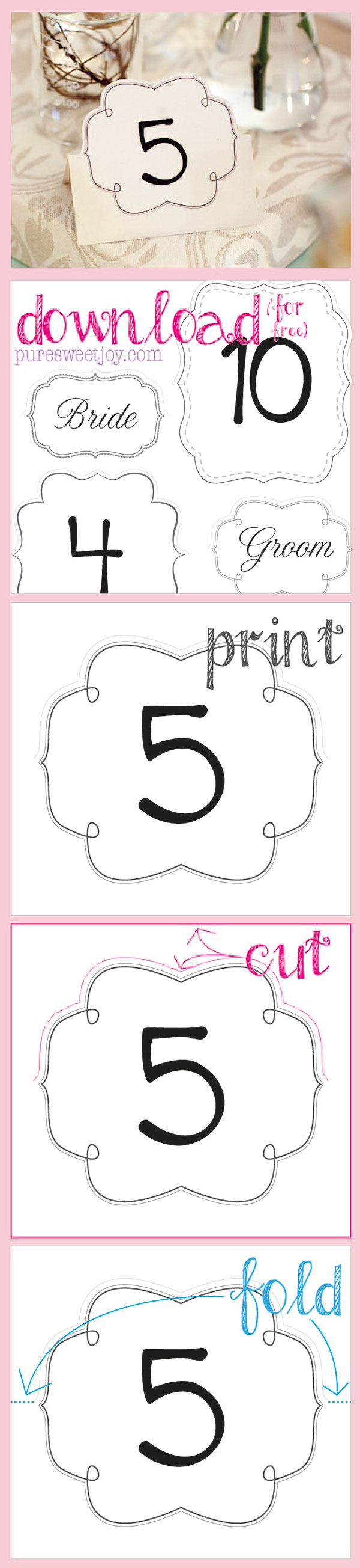 Follow these simple instructions to make your own cute paper table numbers // Free printable download