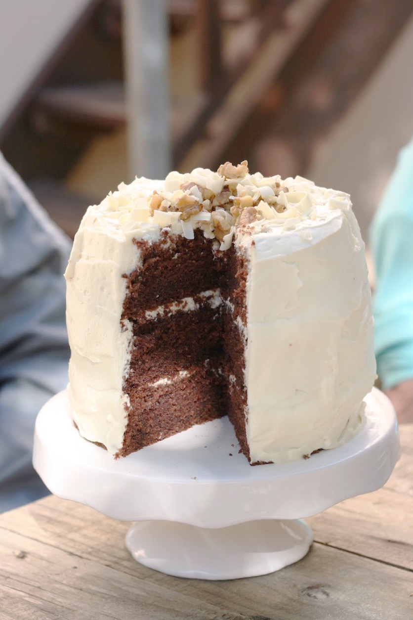 Cream cheese and whipped cream frosting with delicious chocolate cake