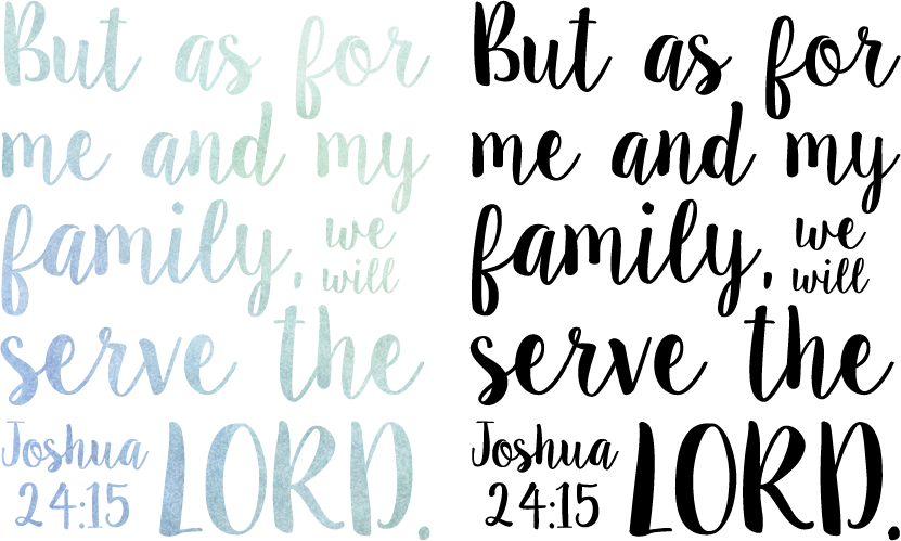Joshua 24.15 watercolour and black print download