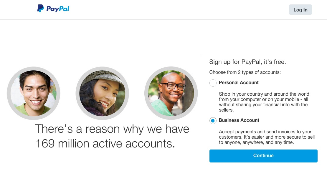 Registering for PayPal account