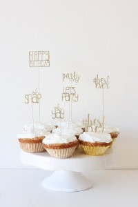 Sophisticated lettered cupcake toppers