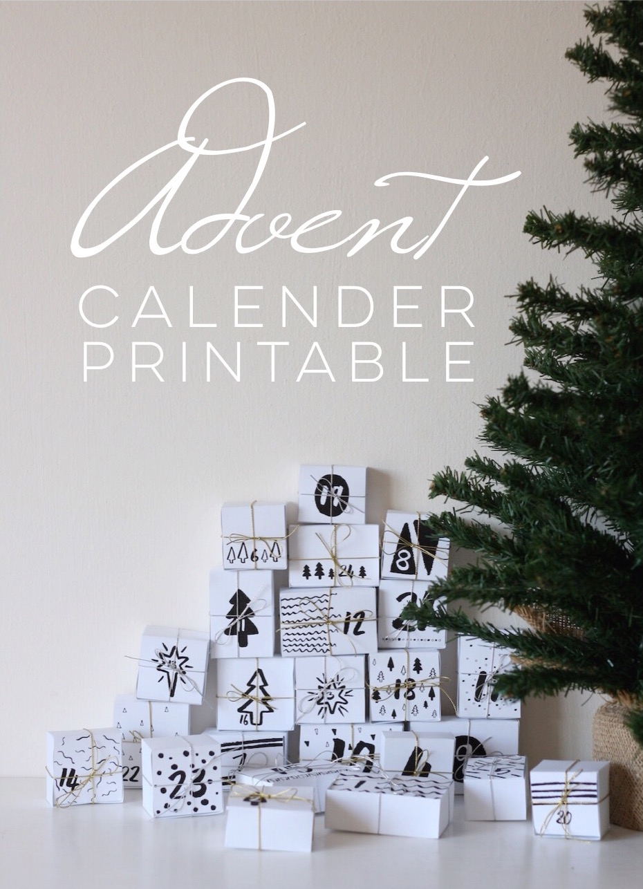 Christmas advent calendar countdown printable