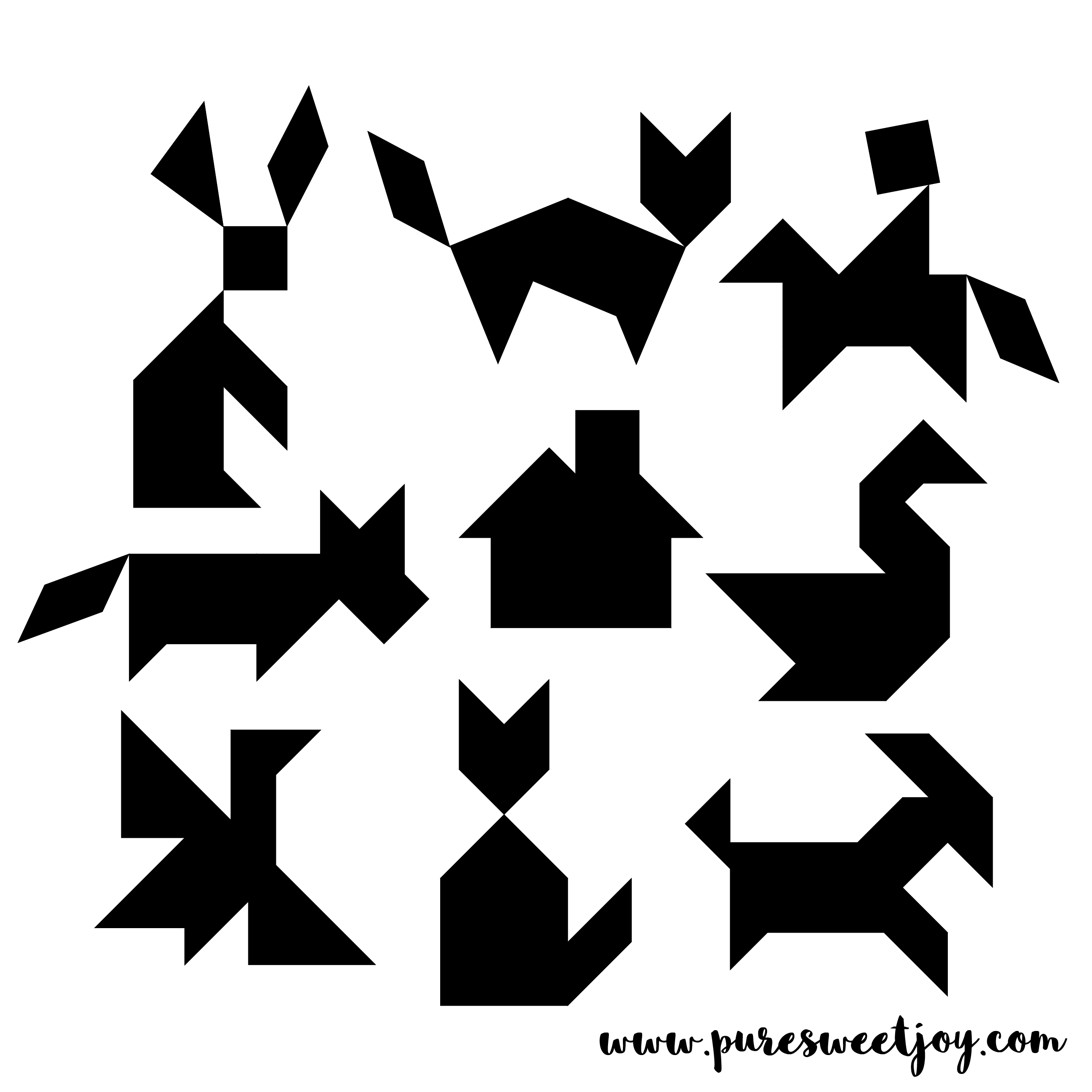 Tangram magnets made with air dry clay. Great as a gift or fun craft