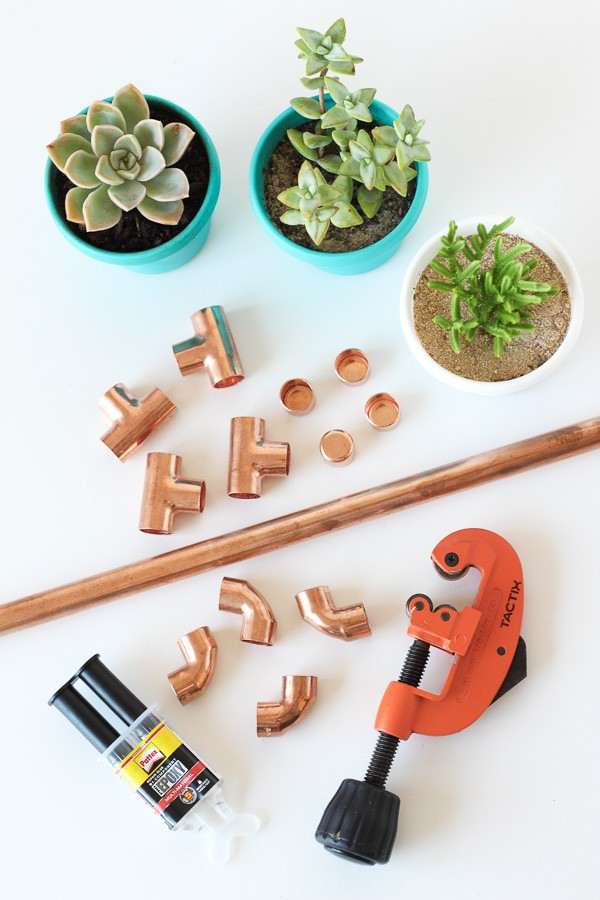 DIY Raised Copper Pipe Pot Plant Stand-2