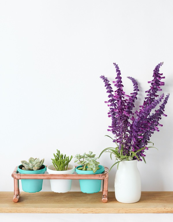 DIY Raised Copper Pipe Pot Plant Stand-6