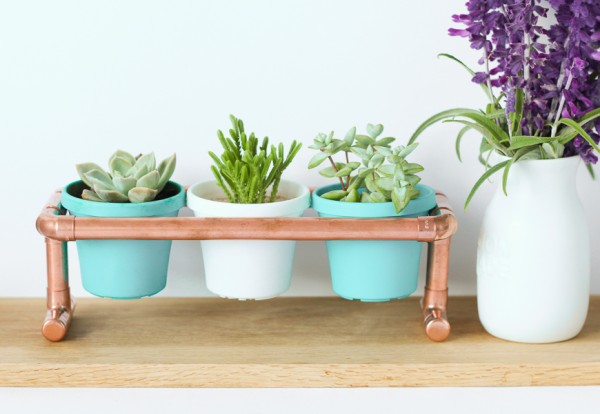 DIY Raised Copper Pipe Pot Plant Stand-7
