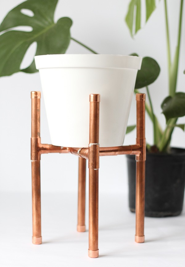Raised Copper Pipe Pot Plant Stand