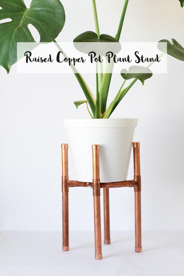 Raised Copper Pipe Pot Plant Stand-main