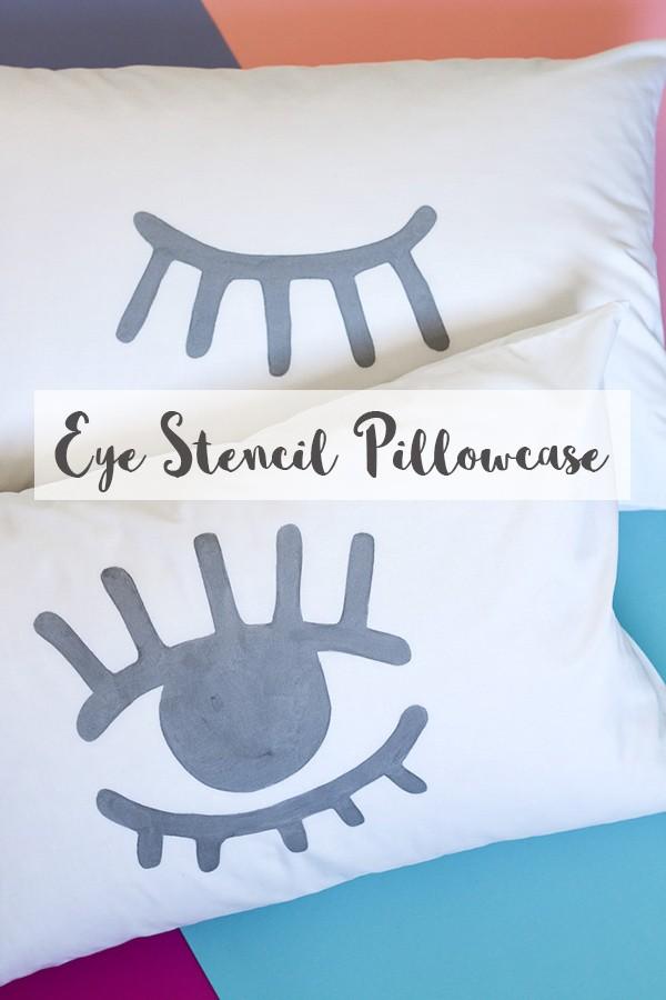 DIY eye stencil pillowcase (+free stencil download)