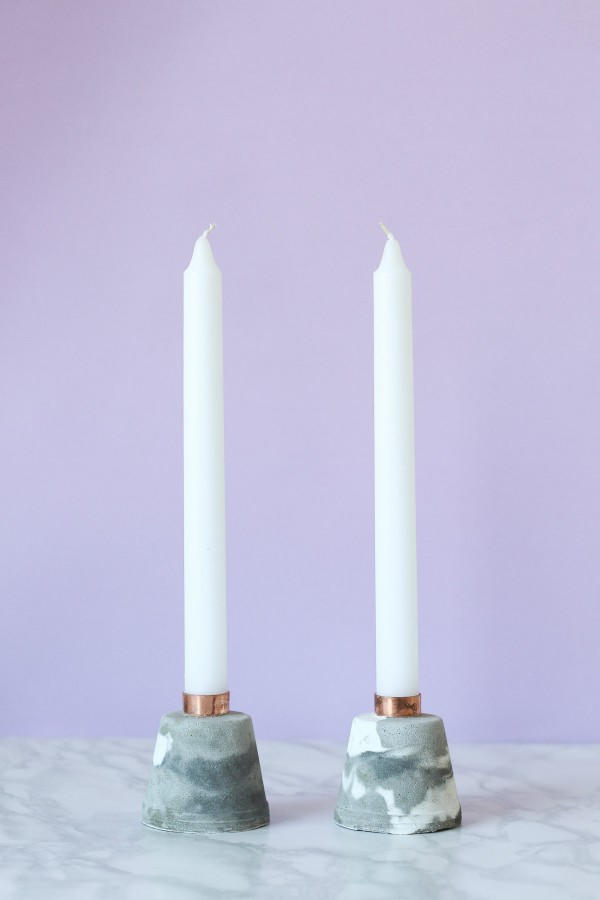DIY Marbled Cement Candle Holders with Copper Pipe // Simple Tutorial from Pure Sweet Joy