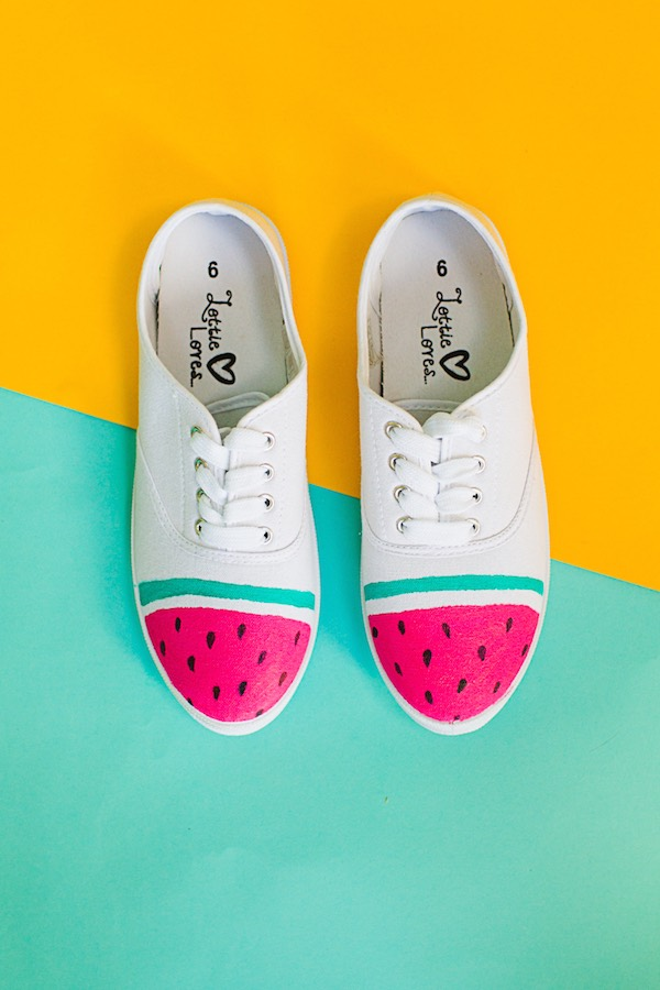 12 Lovely Free Watermelon DIY Projects & Printables, including these bright shoes // Pure Sweet Joy