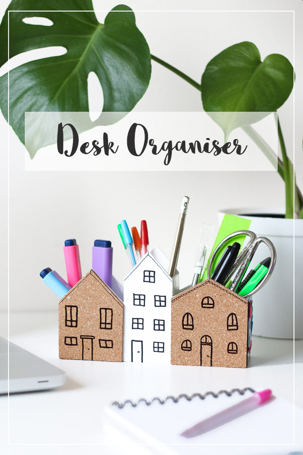 DIY Desk Organizer with cork board for notes and magnet space for paperclips. How nifty