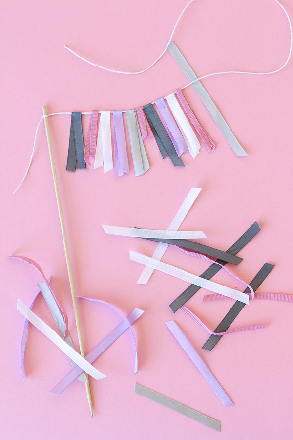 Easy cake topper ribbon bunting // Pure Sweet Joy