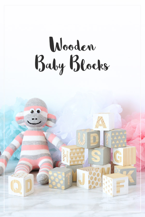 Wooden Baby Blocks Babyshower Craft // DIY