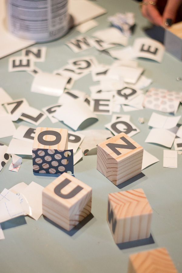 Use stickers and letters for DIY Baby Blocks - Perfect activity for a baby shower