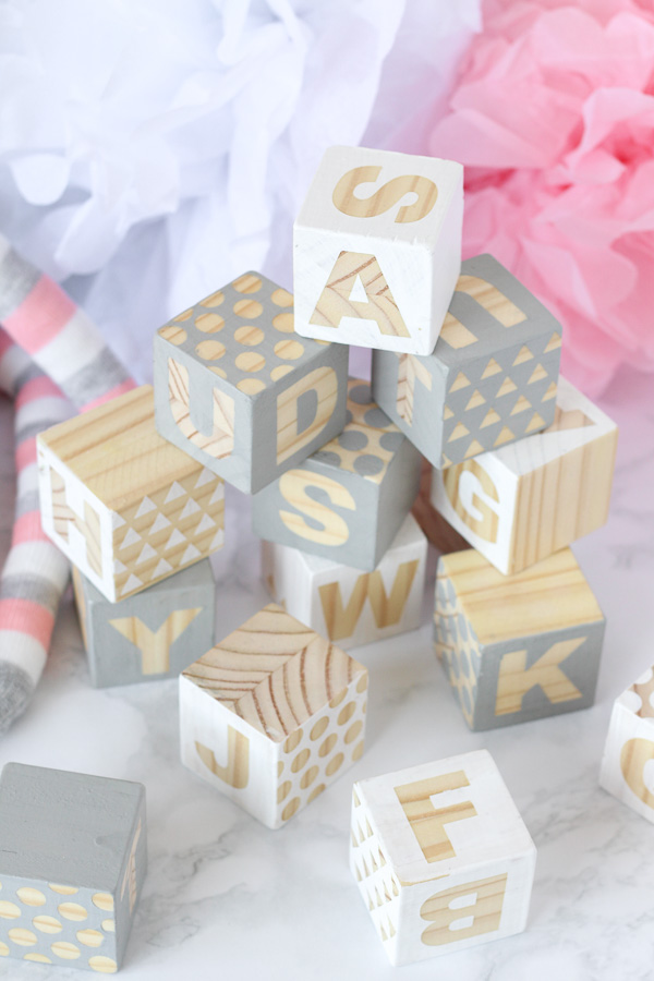 DIY Baby Blocks with letters and patterns - Fun baby shower activity