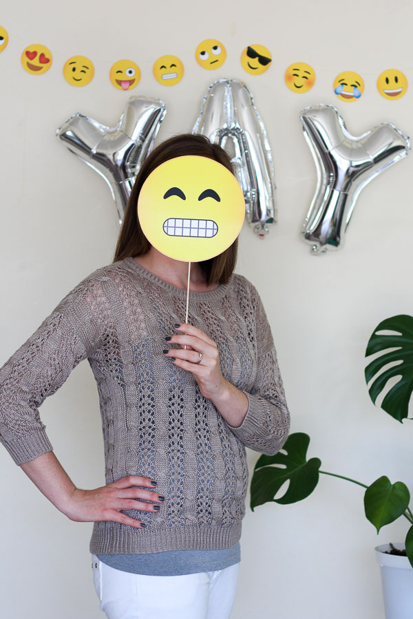 Make these easy Emoji Photobooth Props for your next party using this free printable download // Pure Sweet Joy