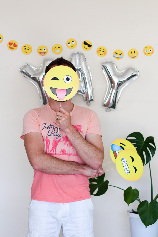 Make these easy Emoji Photobooth Props using this free printable download // Pure Sweet Joy