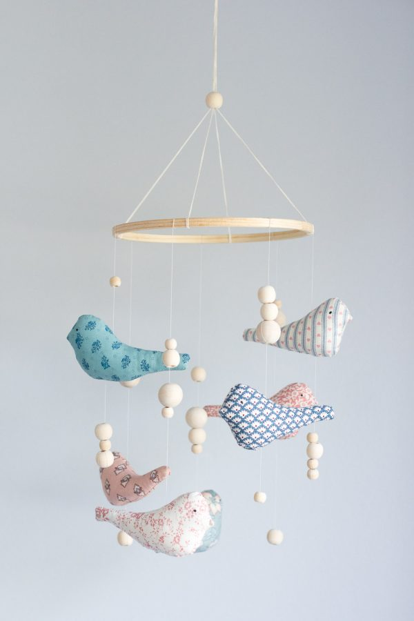Fabric Bird Baby Mobile // Nursery Room Tour // Grey, white and pink neutral nursery for a little baby girl.