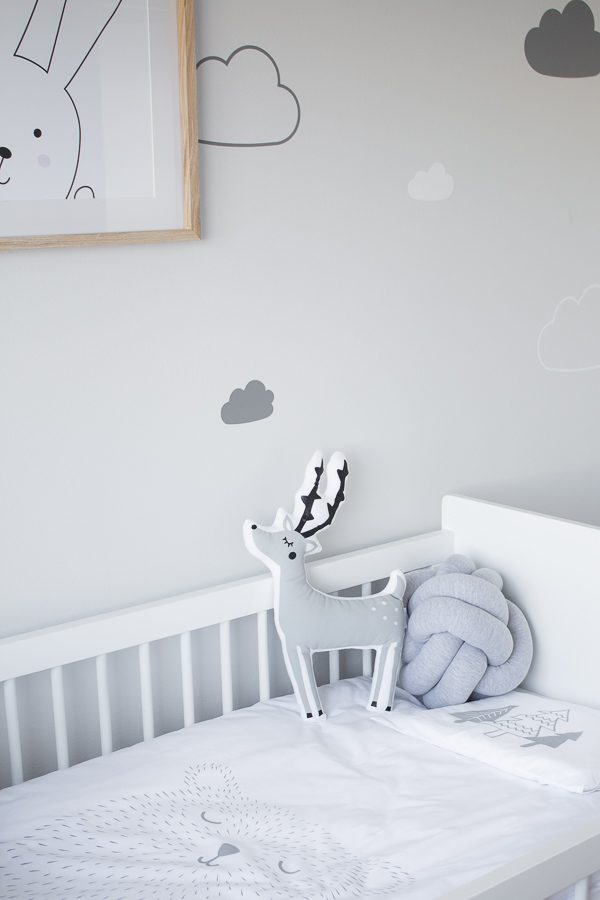 Knot Cushion and Cute Duvet Cover // Nursery Room Tour // Grey, white and pink neutral nursery for a little baby girl.