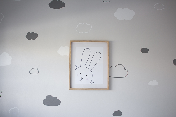 Cloud Vinyl Stickers and Free Bunny Print // Nursery Room Tour // Grey, white and pink neutral nursery for a little baby girl.