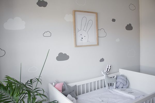 Cloud Vinyl Stickers and Bunny Printable // Nursery Room Tour // Grey, white and pink neutral nursery for a little baby girl.