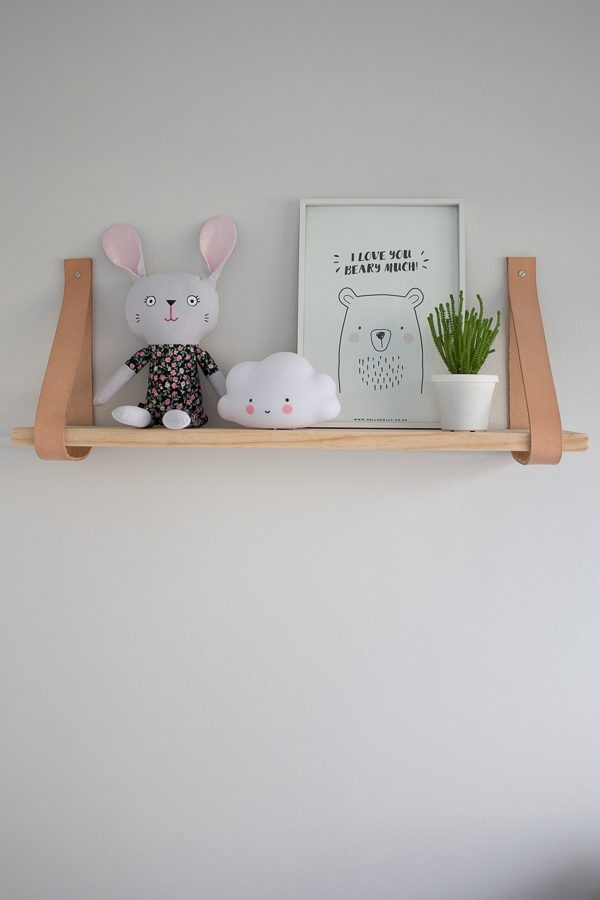 Leather Strap Shelf DIY // Nursery Room Tour // Grey, white and pink neutral nursery for a little baby girl.