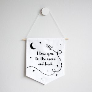 Wall Banner Flag- Moon and Back