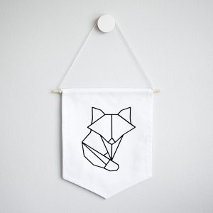 Wall Banner Flag - Origami Fox