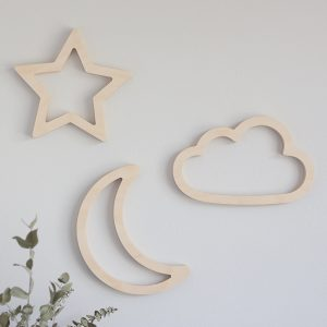 Wooden Wall Cutout - Moon, Star and Cloud