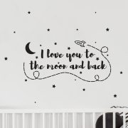 Vinyl Wall Decal - Removable Wall Decor - Moon and Back