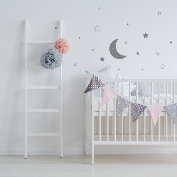 Vinyl Wall Decal - Removable Wall Decor - Moon and Stars