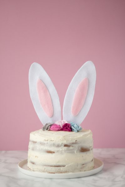 Bunny Cake Topper with Fabric Flower Crown // DIY