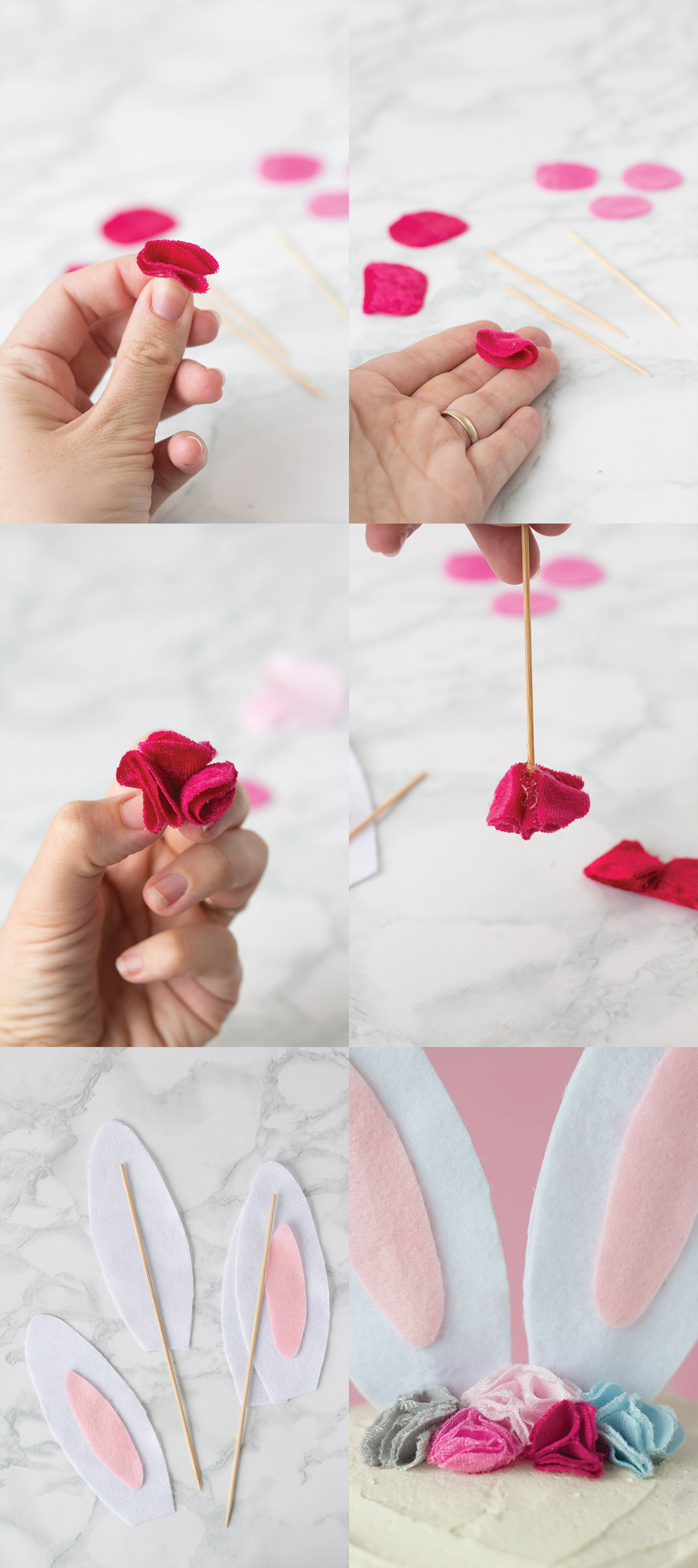 Bunny Cake Topper with Flower Crown DIY steps