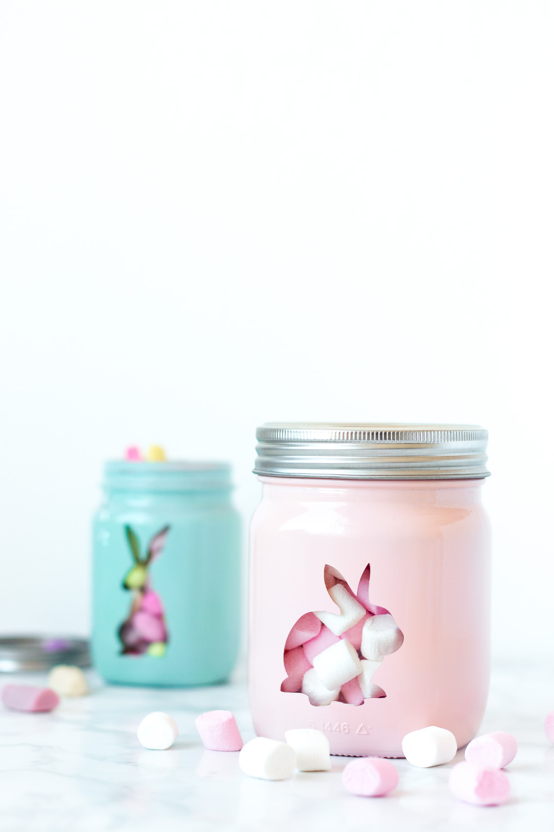 Painted Bunny Jars for Easter - Glass Jar with sweets - DIY