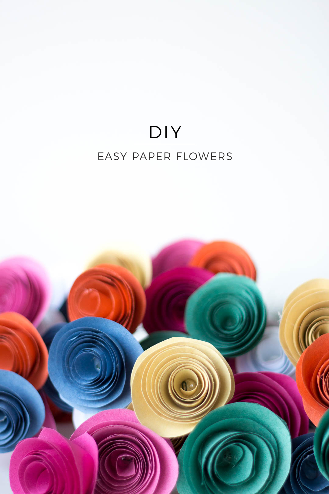 Easy Paper Flowers DIY that look stunning in a bunch. Made with paper, glue and florist wire.