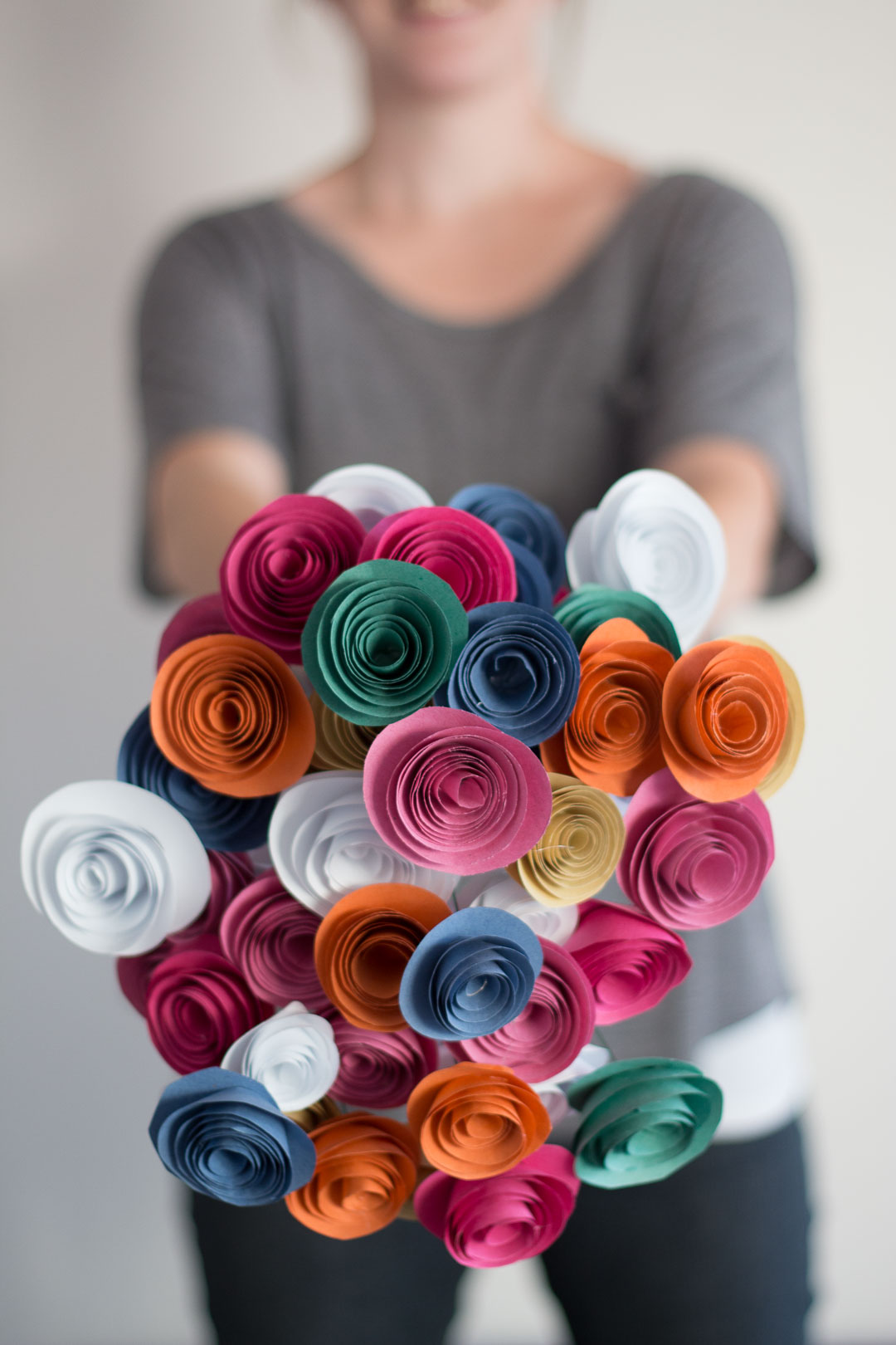 Easy Paper Flowers DIY made with paper, glue and florist wire.