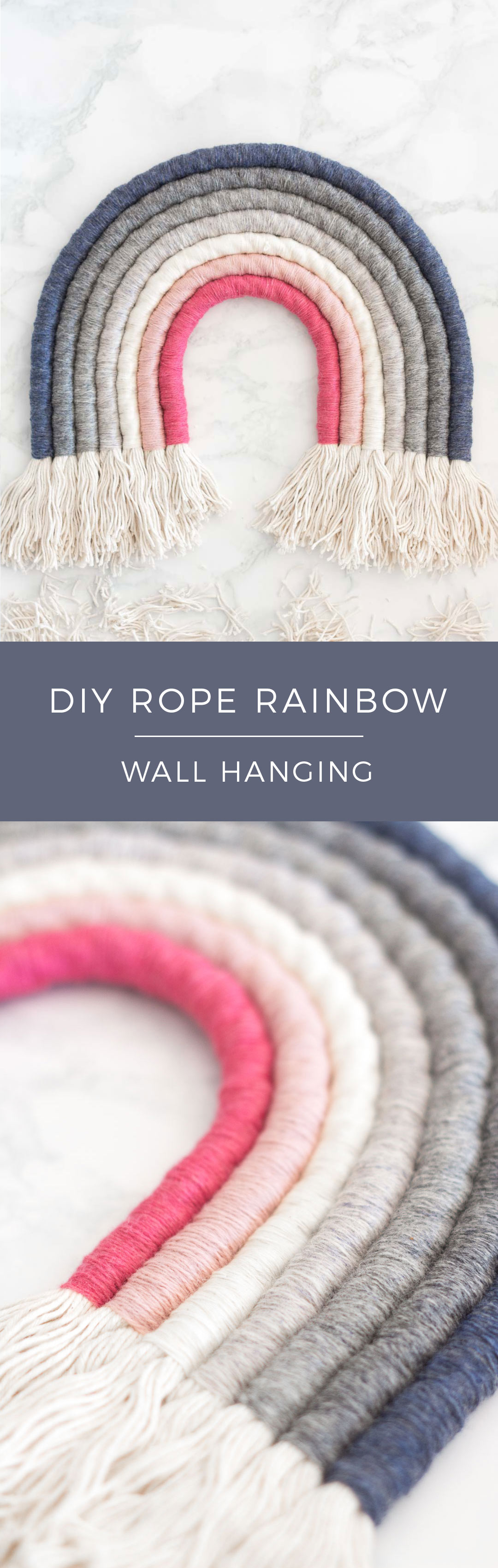 Gorgeous Rope Rainbow Wall Hanging DIY - Make your own rope rainbow in the colours and textures that you want. Perfect statement in a nursery, bedroom or living area.