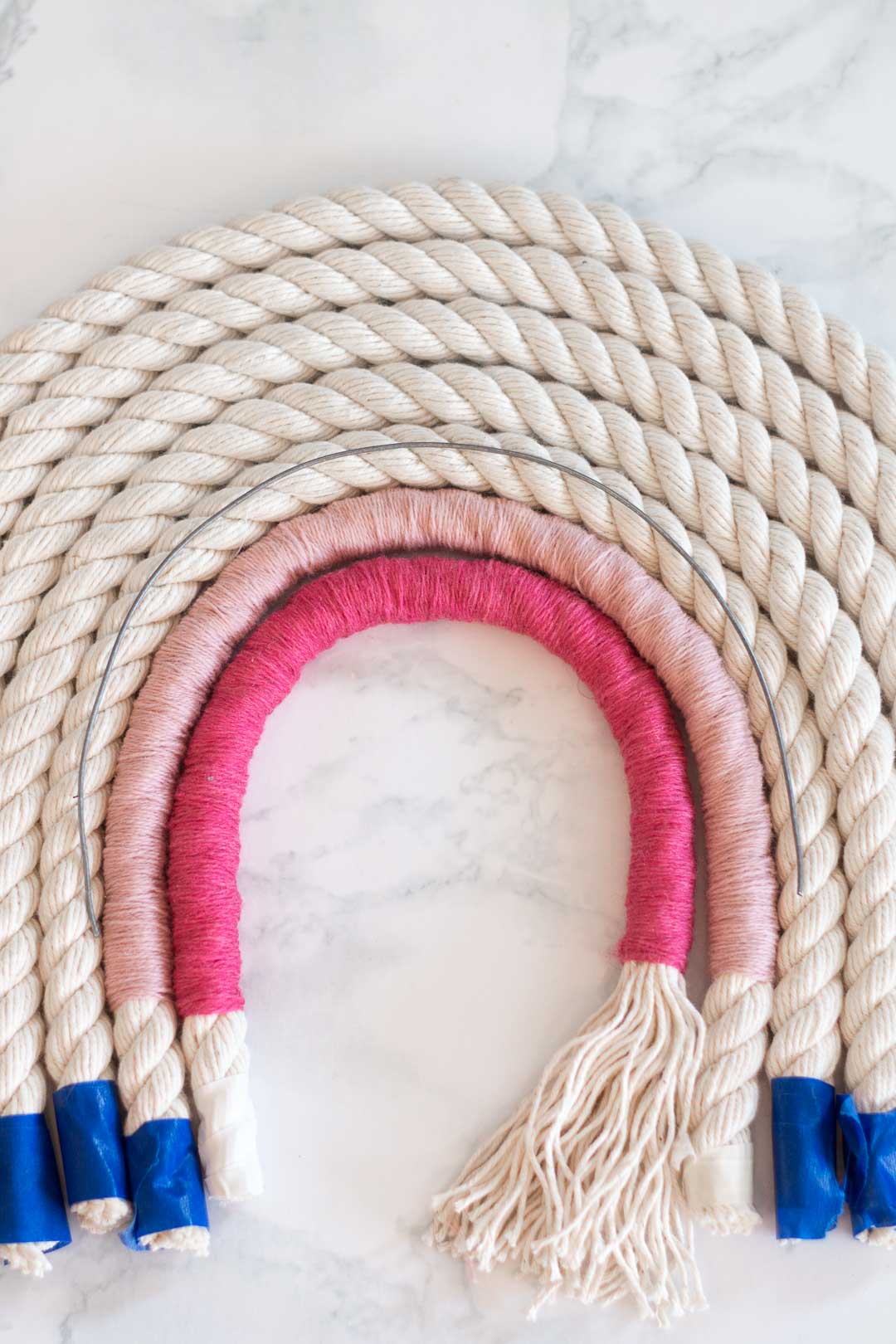 Rope Rainbow Wall Hanging DIY - Make any size rainbow that you'd like