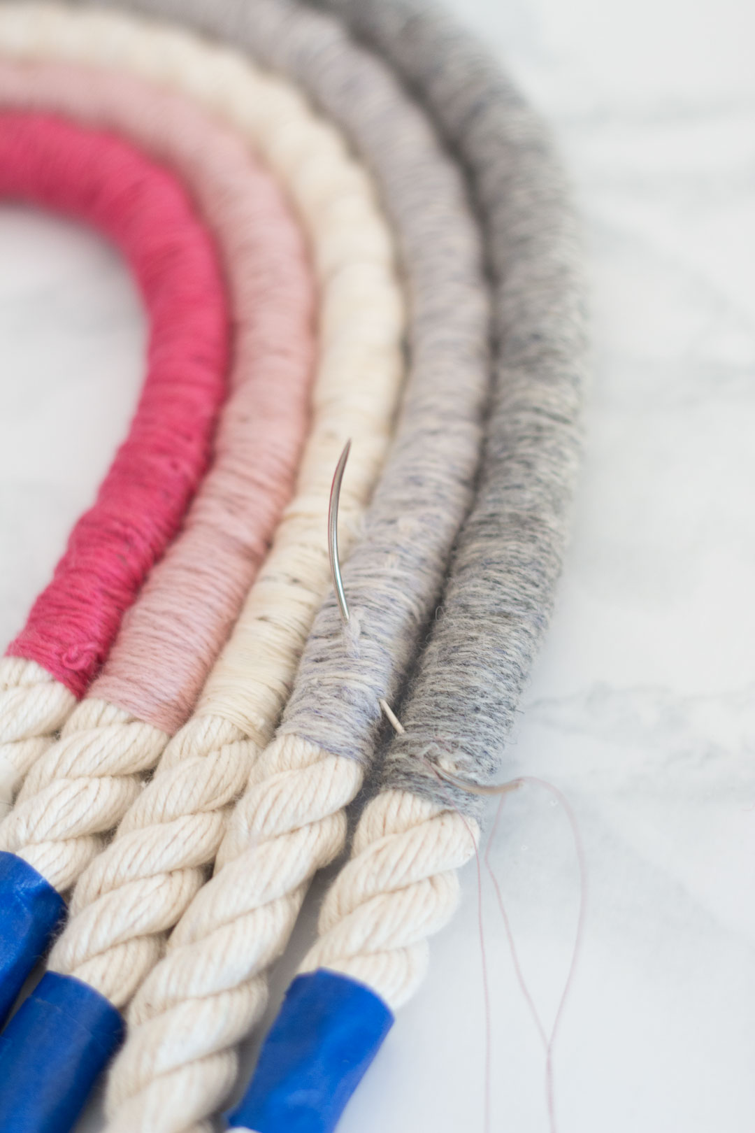Rope Rainbow Wall Hanging DIY - Grey and Pink Rainbow Fibre Art DIY