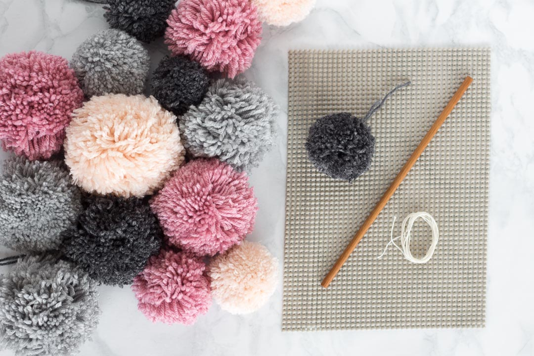 No weave Pom Pom Wall Hanging DIY