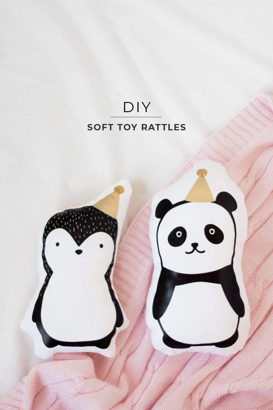Free Silhouette Cut File for Cute Penguin and Panda Plushie Soft Toy Rattle from Pure Sweet Joy