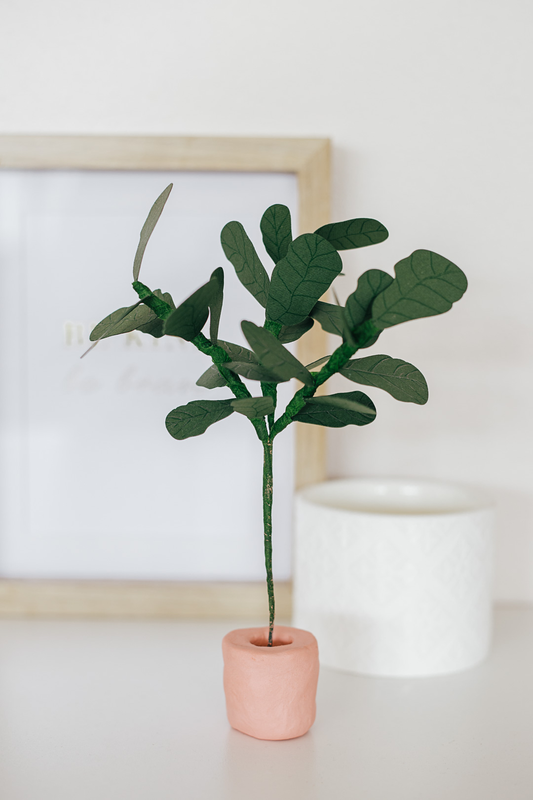 DIY Paper Fiddle Leaf Fig - Post includes free Silhouette or Cricut SVG cut file.