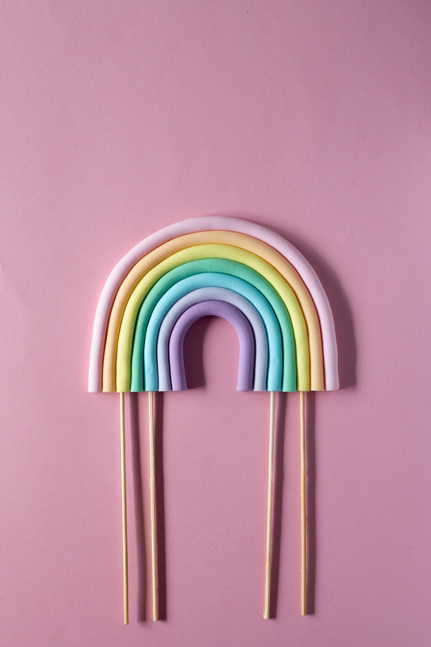 Girly Pastel Rainbow Party Cake Topper - DIY made from Fondant Icing