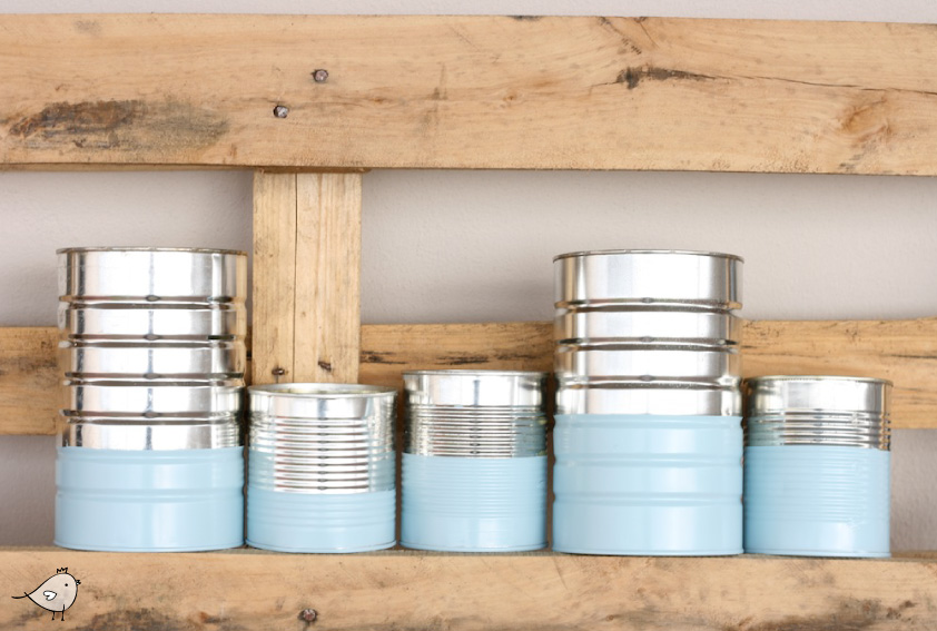 Spray painted tins