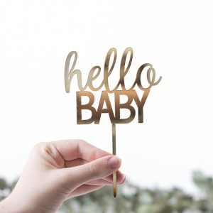 Gold Mirror Baby Shower Cake Topper