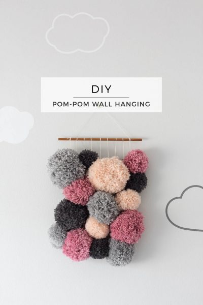 No weave Pom Pom Wall Hanging DIY