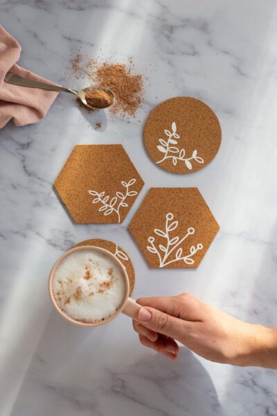 Cork Coasters with the Cricut Maker // Free SVG download