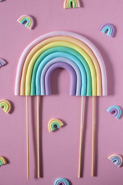 Rainbow Cake Topper & Mini Cupcake Toppers // DIY
